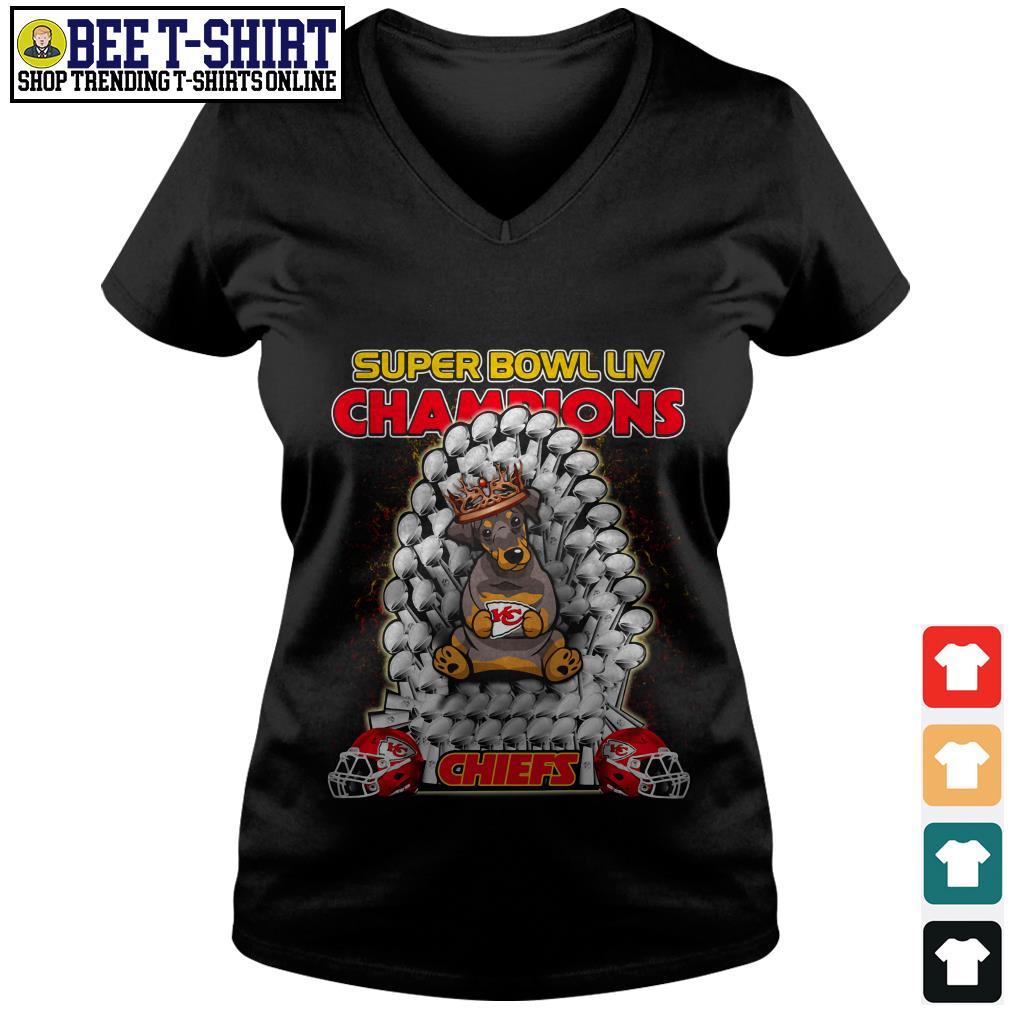 Kansas City Chiefs super bowl LIV champions Dobermann Chiefs V-neck T-shirt