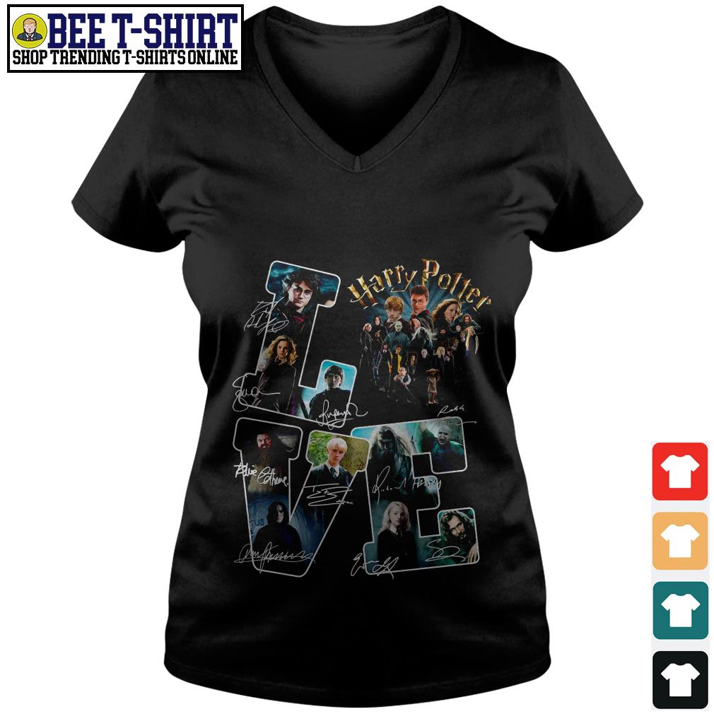 Love Harry Potter characters signatures V-neck T-shirt