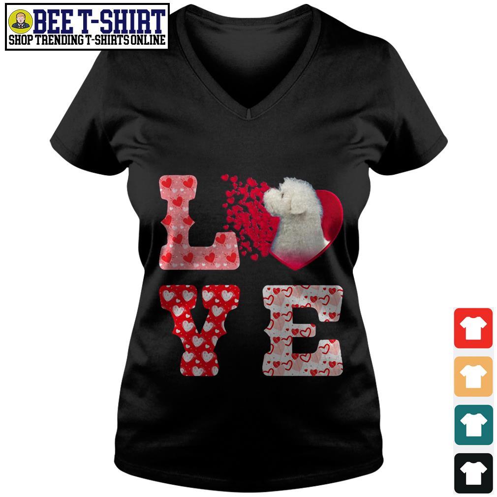 Maltese love valentine V-neck T-shirt