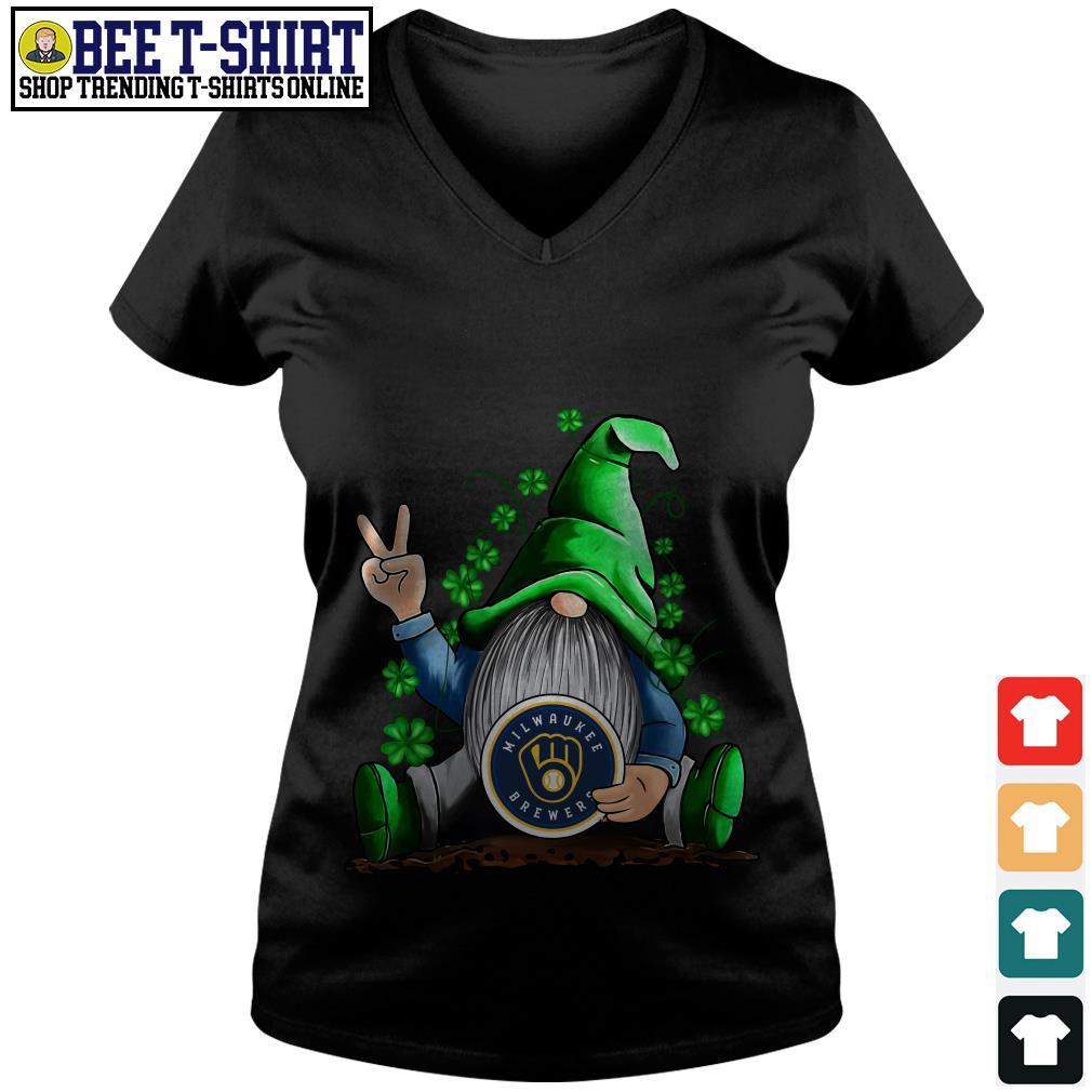 MLB Gnomes Lucky Hug Milwaukee Brewers Baseball V-neck T-shirt