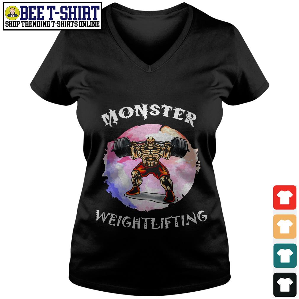 Monster weightlifting V-neck T-shirt