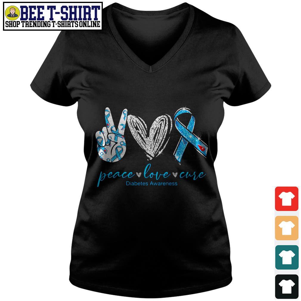 Peace love cure Diabetes Awareness V-neck T-shirt
