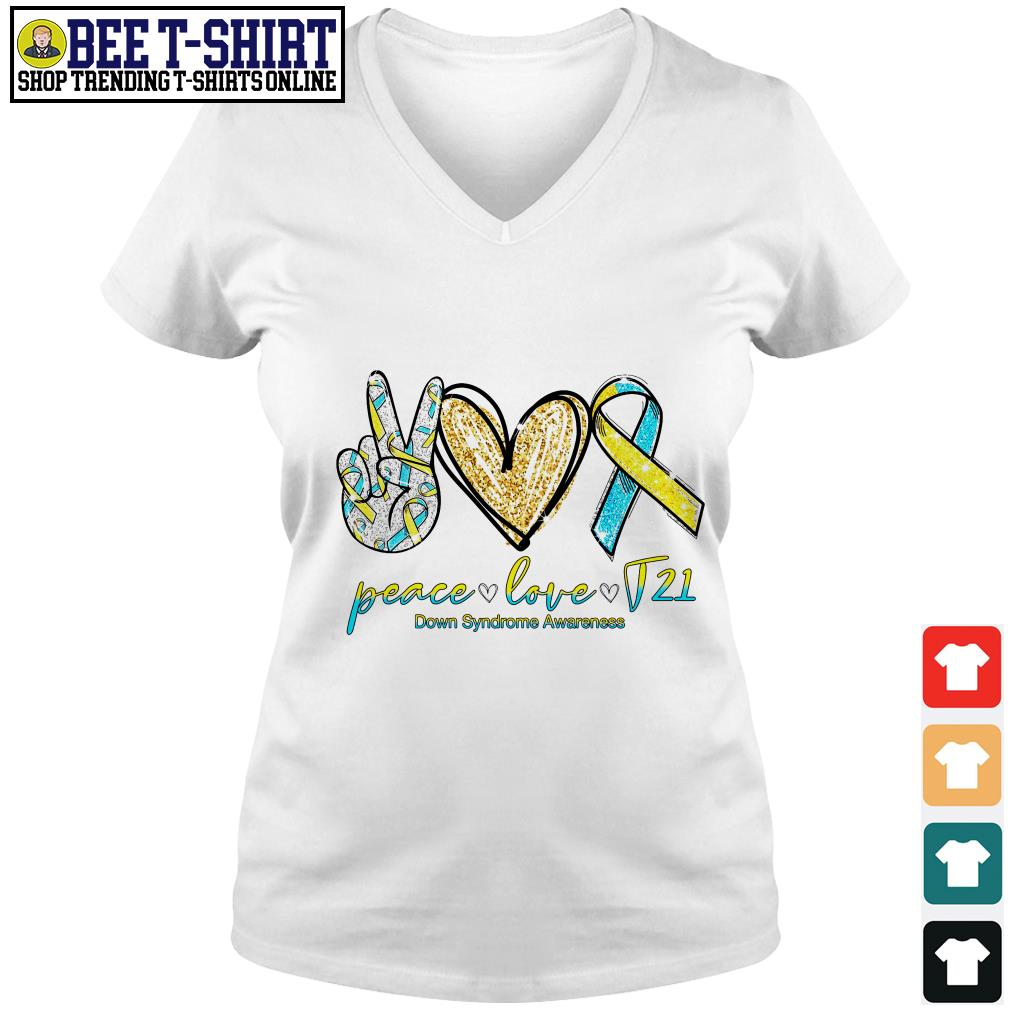 Peace love T21 down syndrome awareness V-neck T-shirt