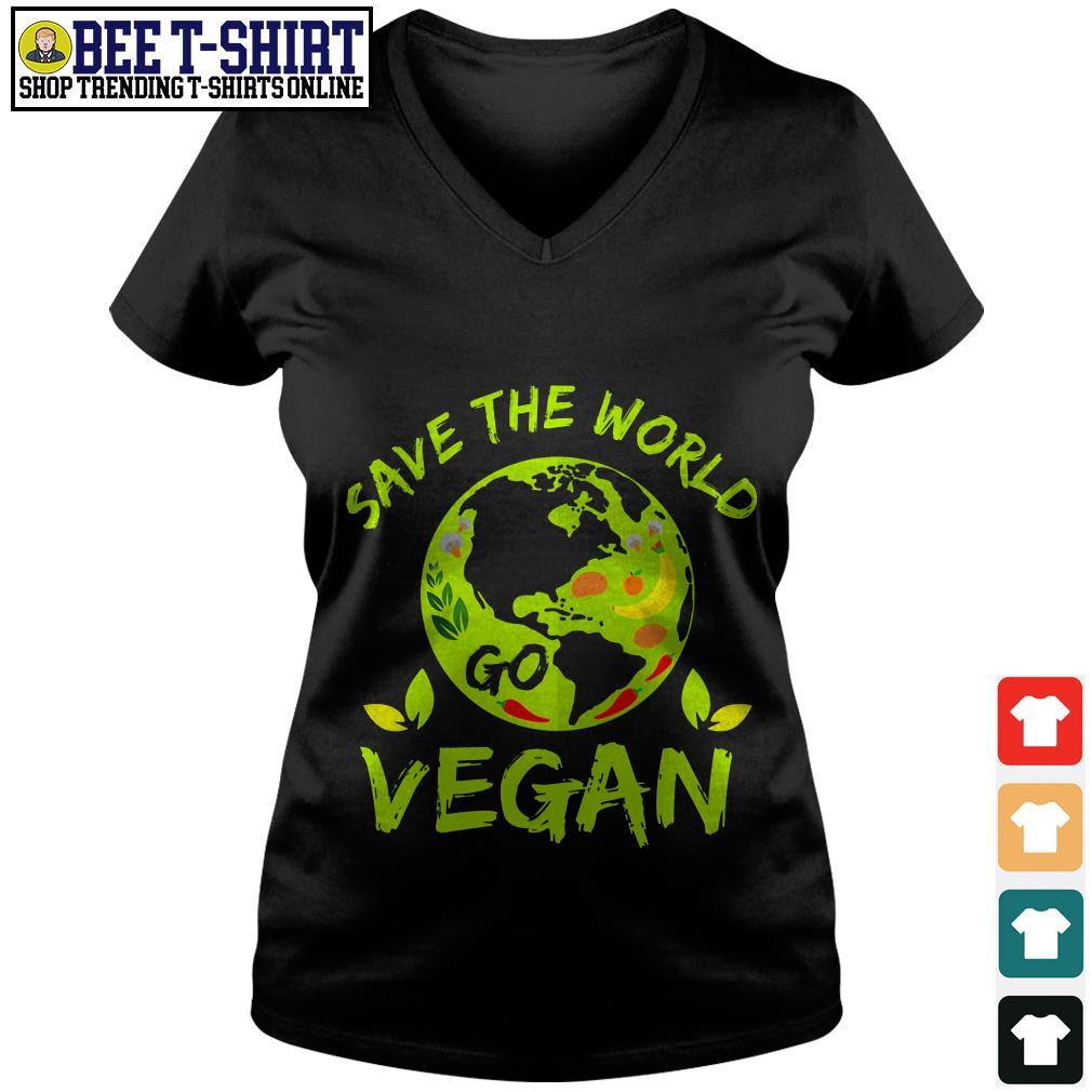 Save the world go vegan V-neck T-shirt