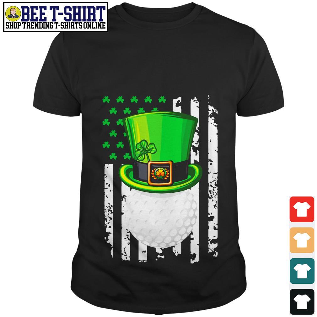 St' Patrick's Day Leprechaun golf and American flag shirt