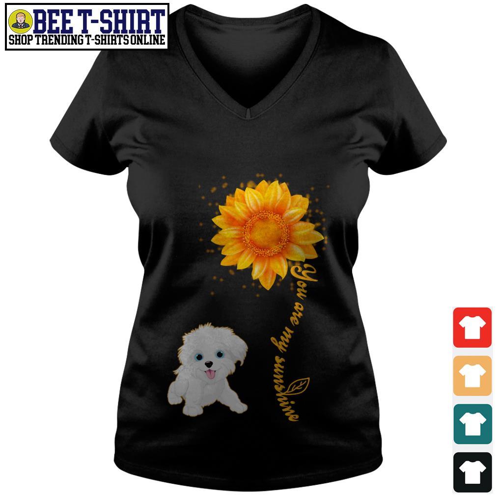 You are my sunshine Maltese sunflower V-neck T-shirt