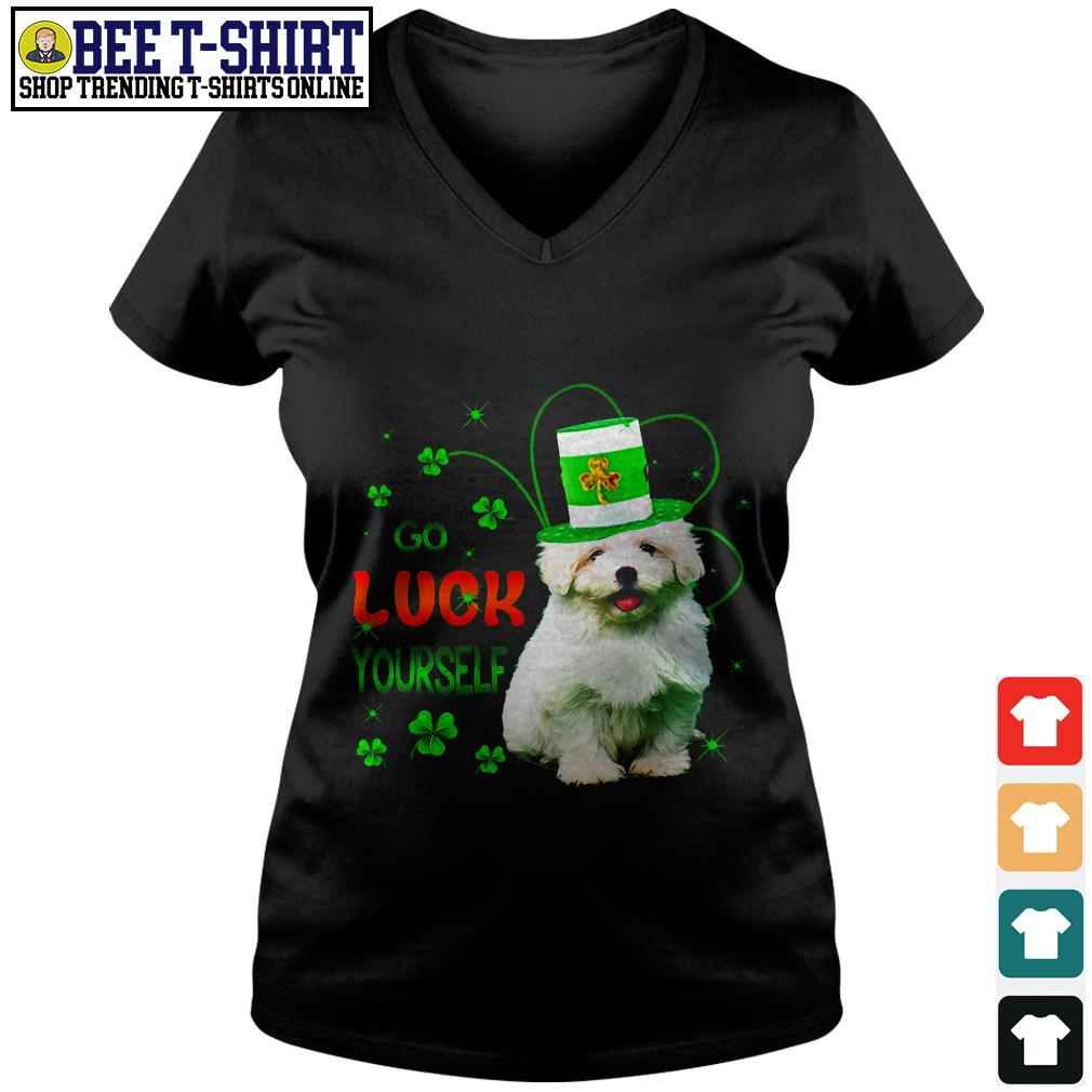 St' Patrick's Day go luck yourself baby Golden Retriever V-neck T-shirt