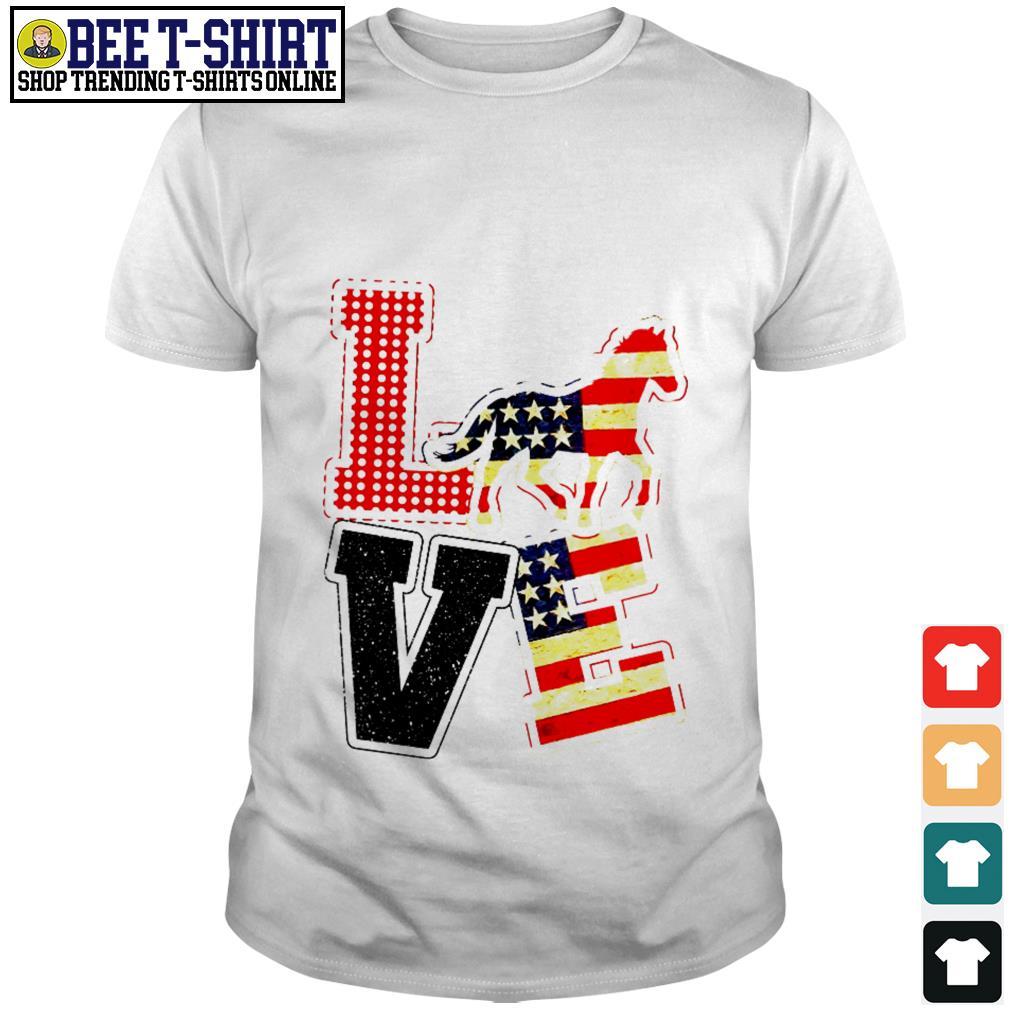 Equestrian horses riding Love American flag shirt