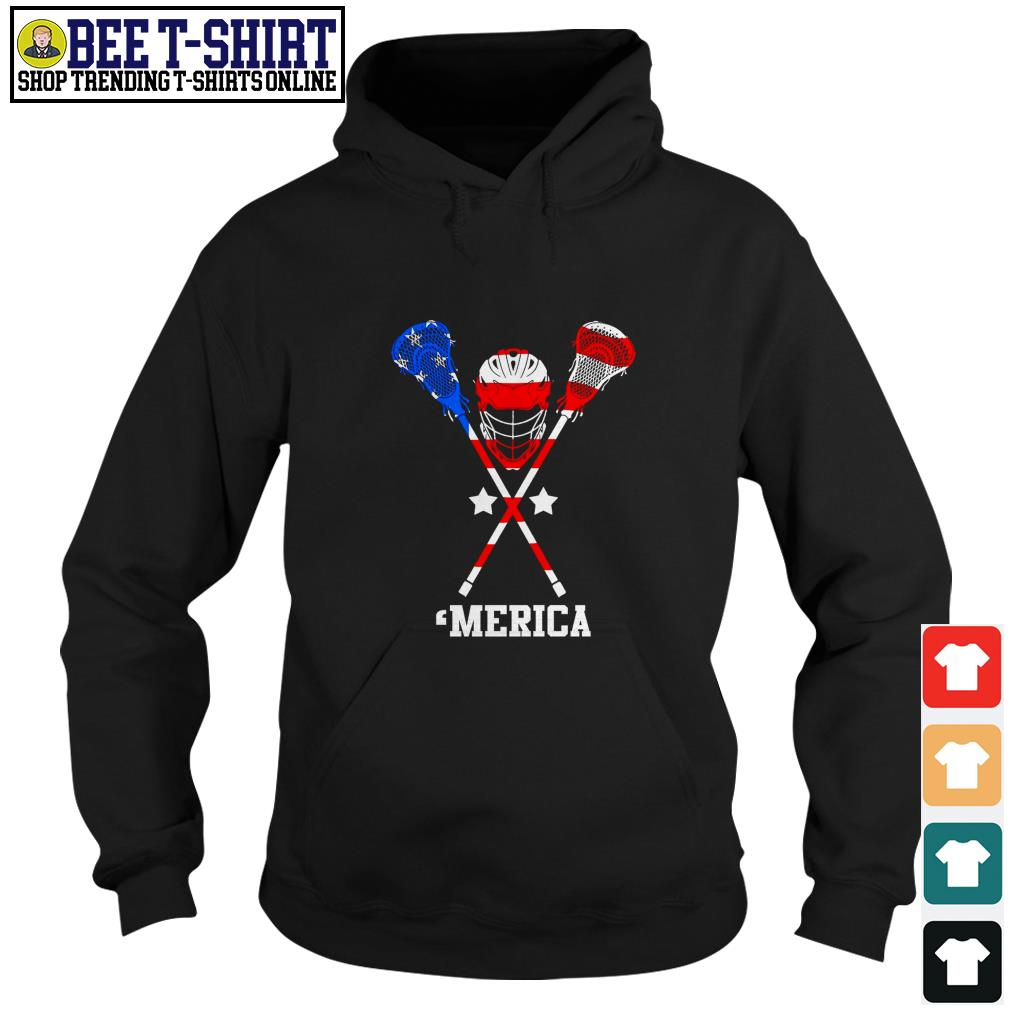 Lacrosse 'merica American flag 4th of July Independence Day Hoodie