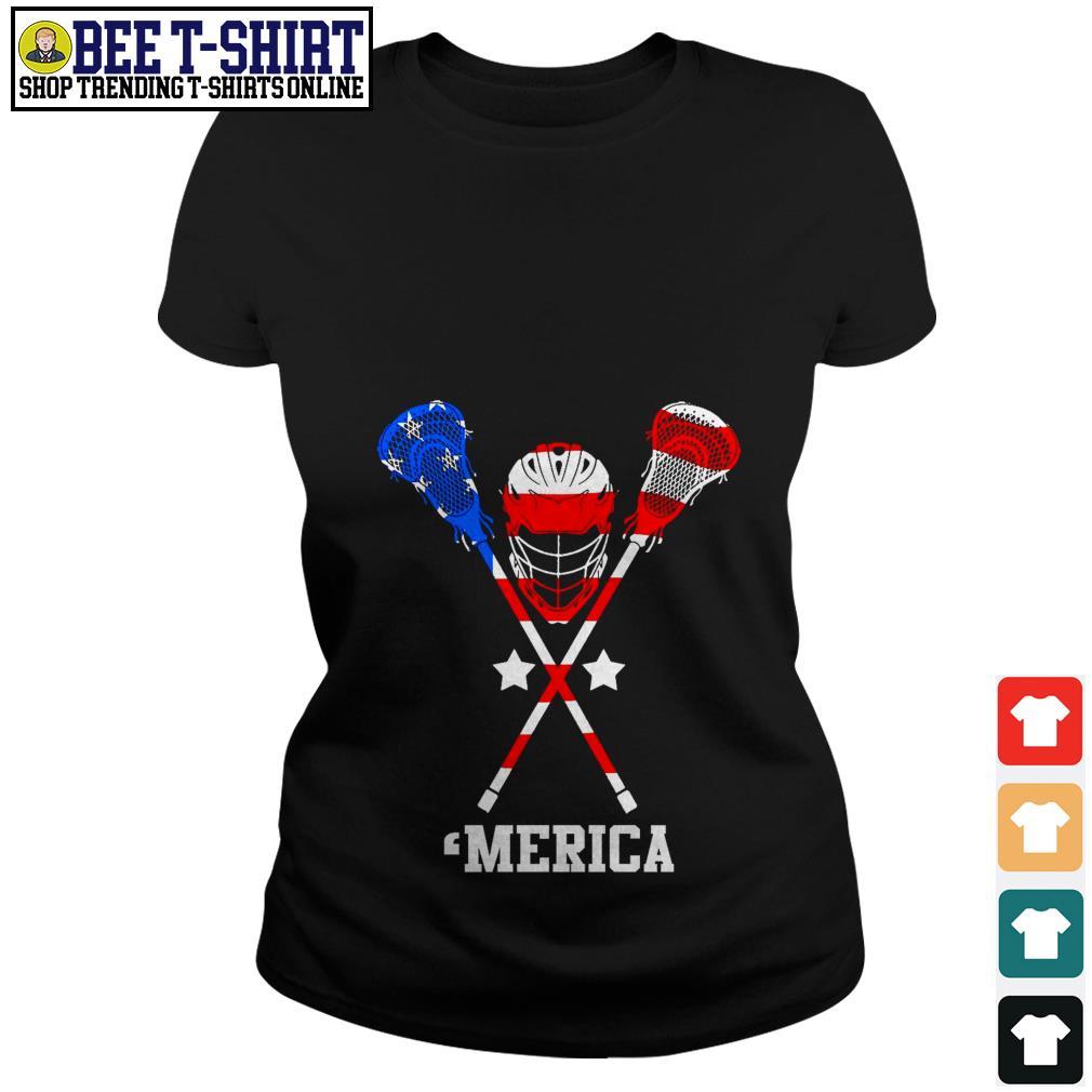 Lacrosse 'merica American flag 4th of July Independence Day Ladies Tee
