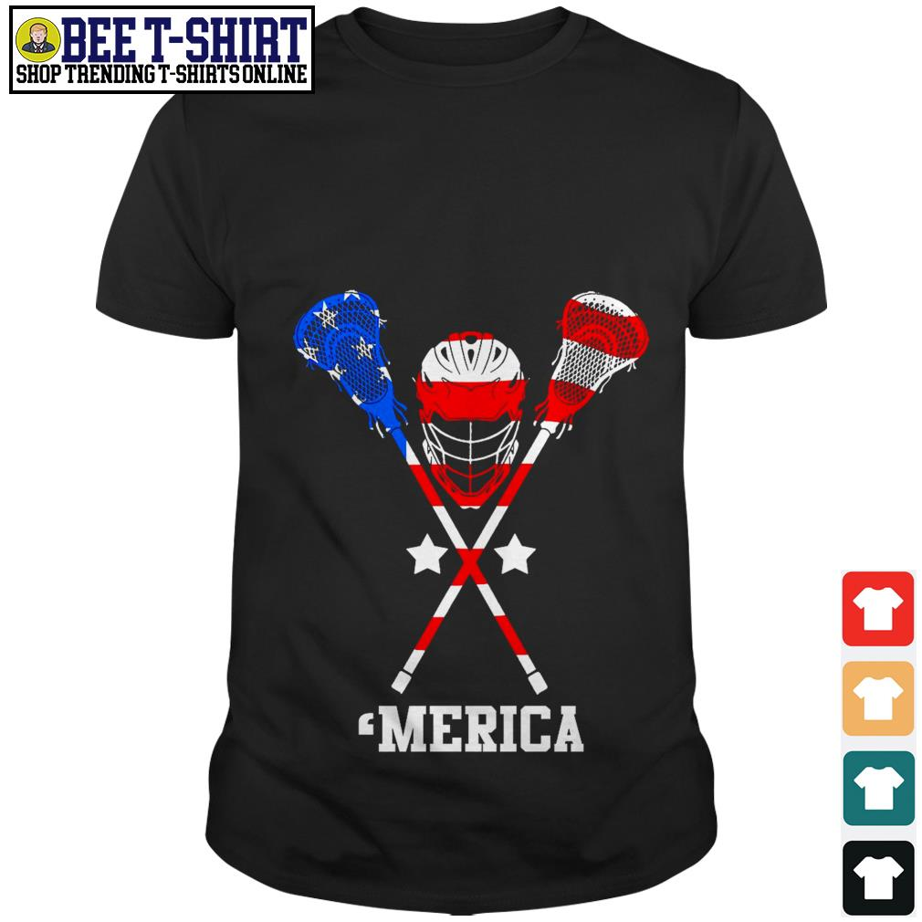 Lacrosse 'merica American flag 4th of July Independence Day shirt