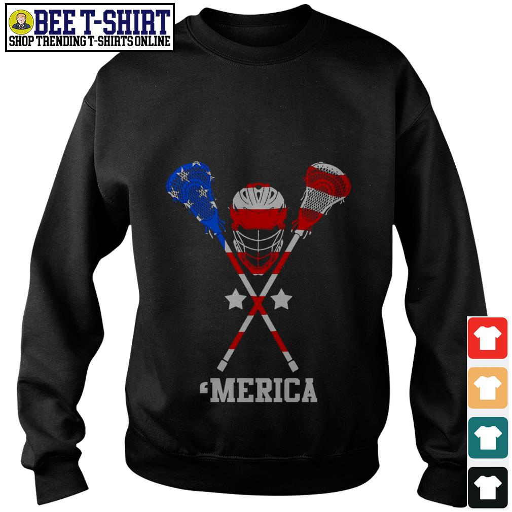 Lacrosse 'merica American flag 4th of July Independence Day Sweater