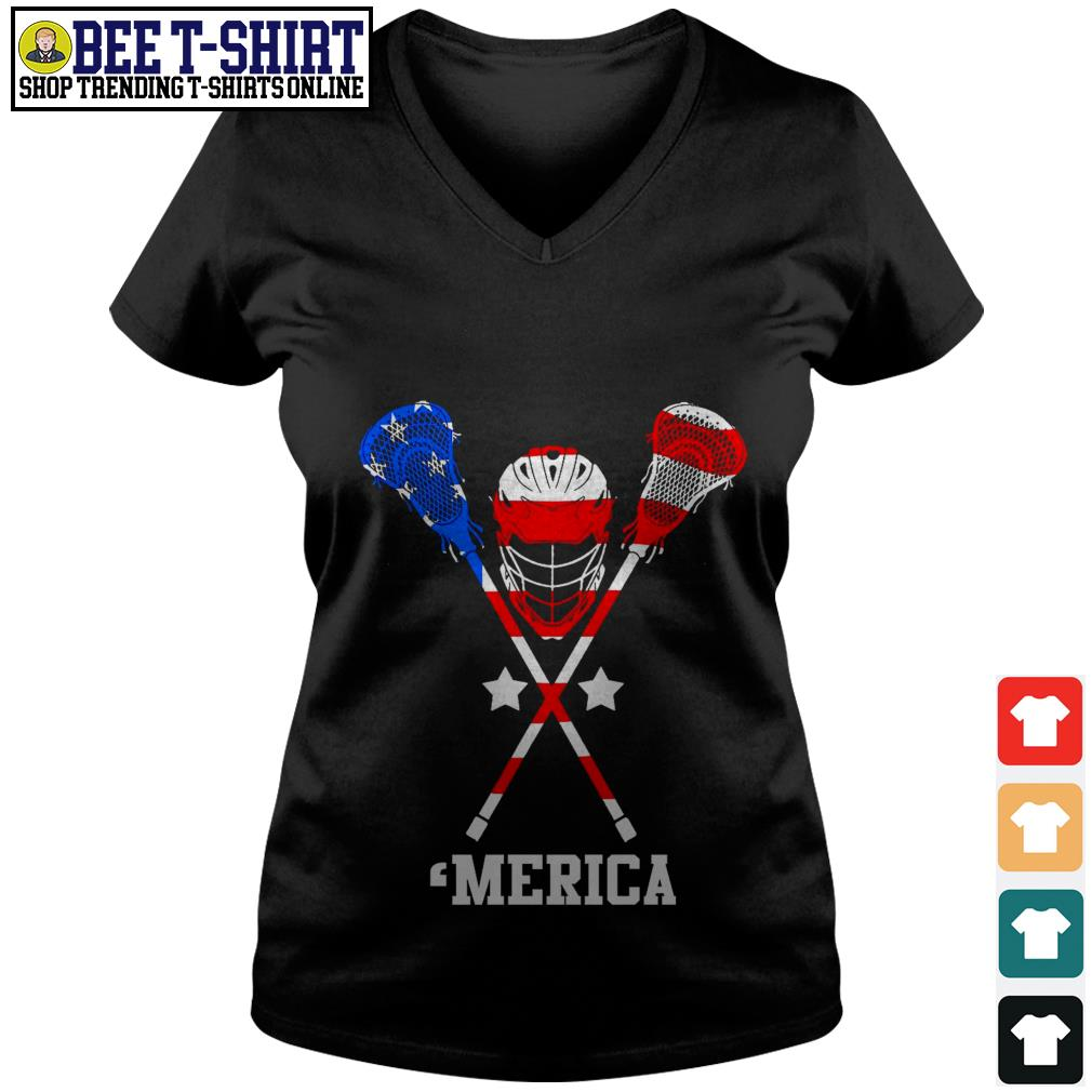 Lacrosse 'merica American flag 4th of July Independence Day V-neck T-shirt