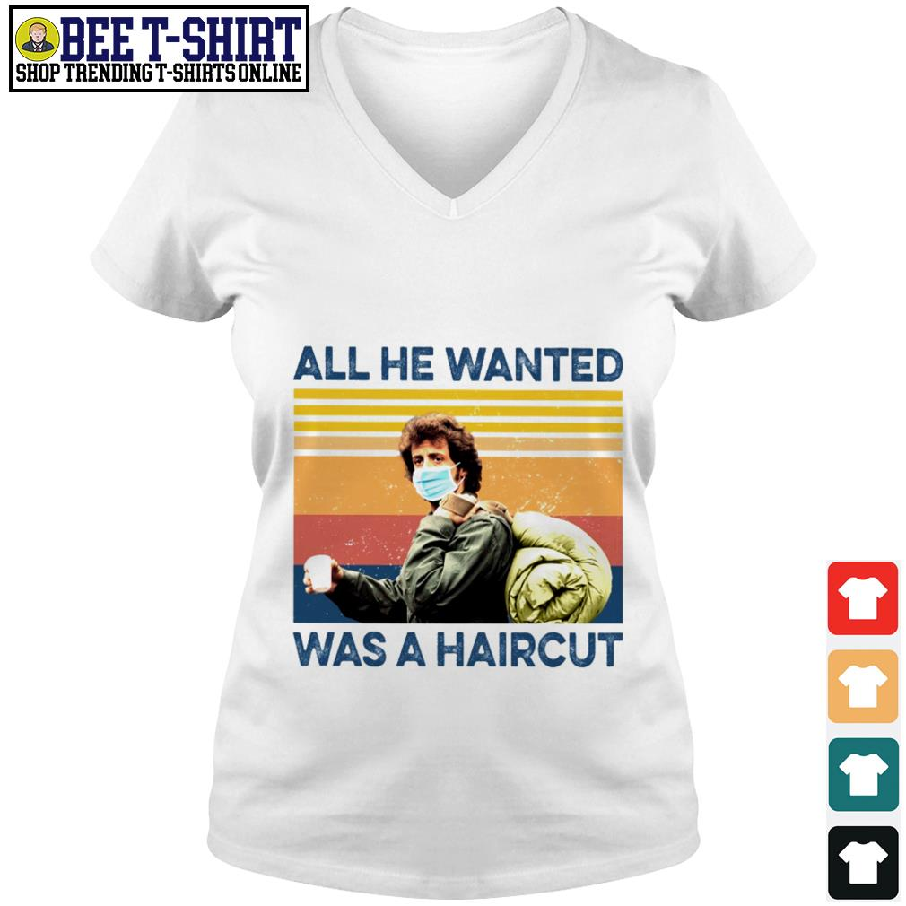 Rambo face mask all He wanted was a haircut vintage V-neck T-shirt