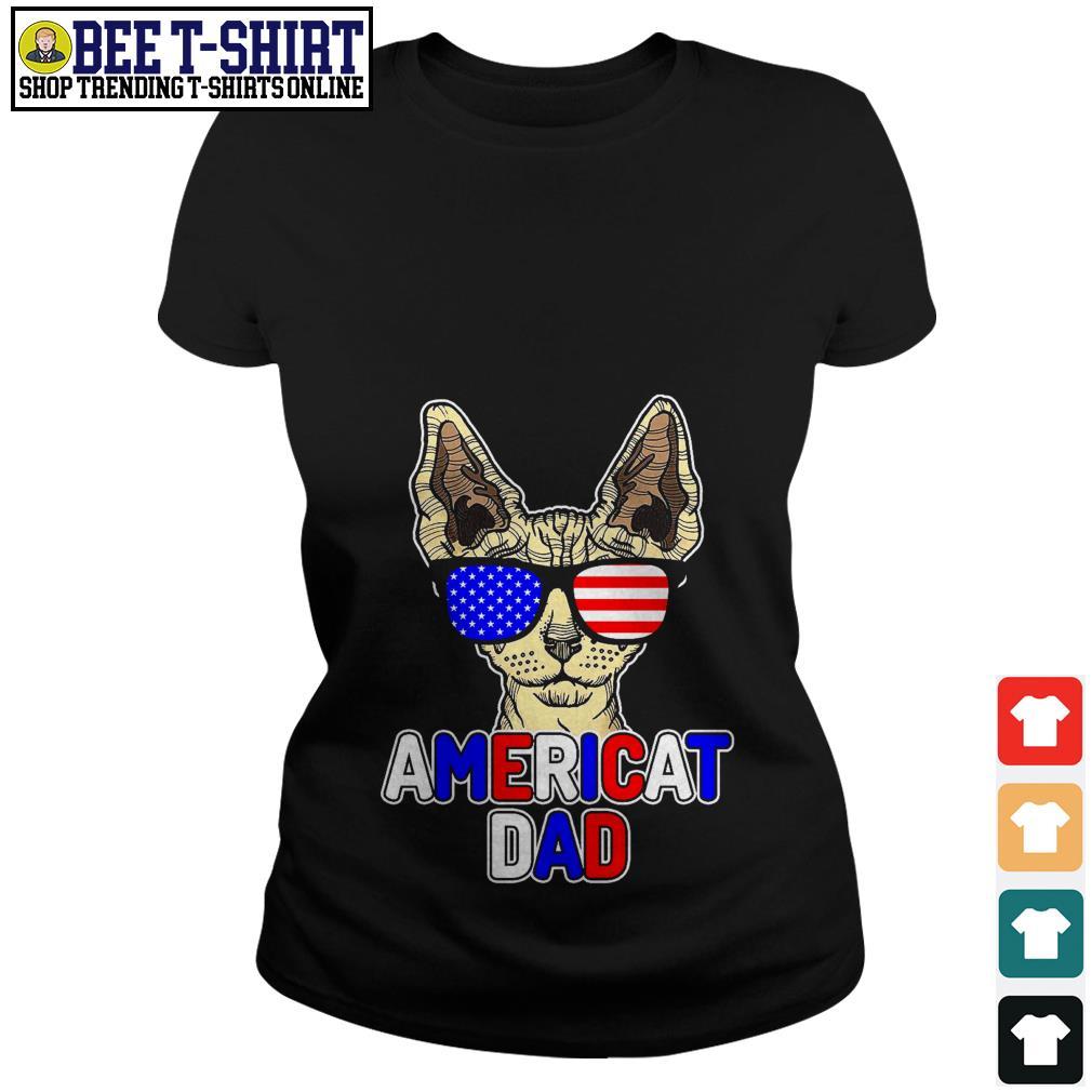 Sphynx glasses American flag Americat dad Ladies Tee