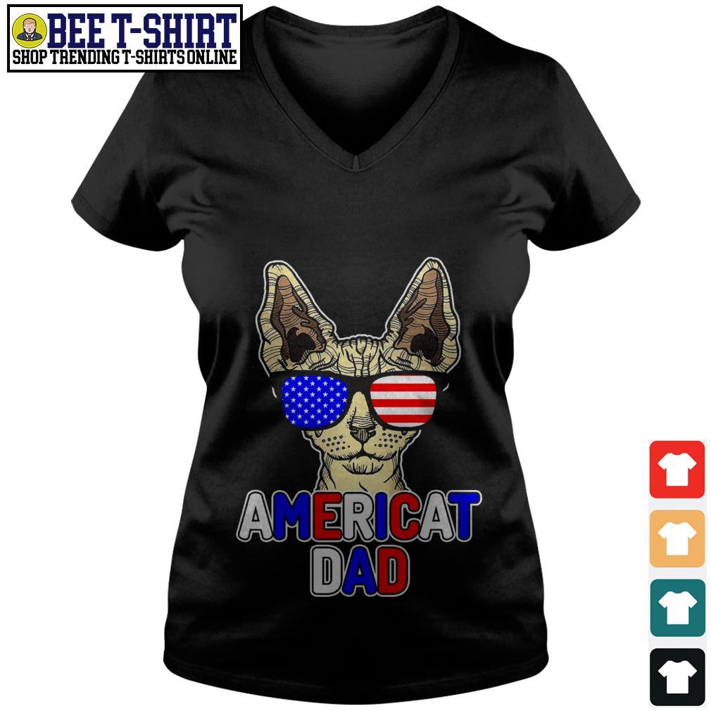 Sphynx glasses American flag Americat dad V-neck T-shirt