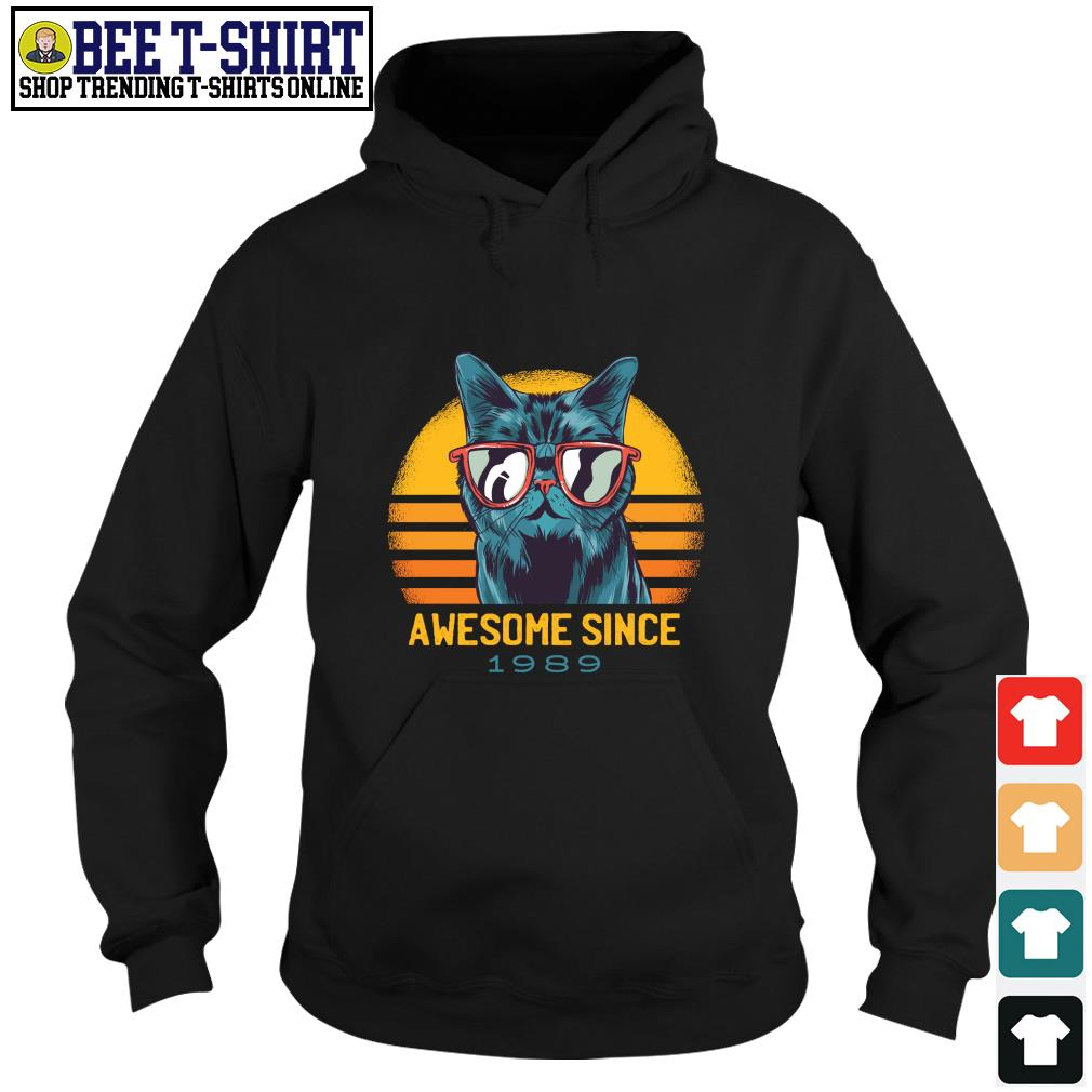 Cat awesome since 1989 vintage s hoodie