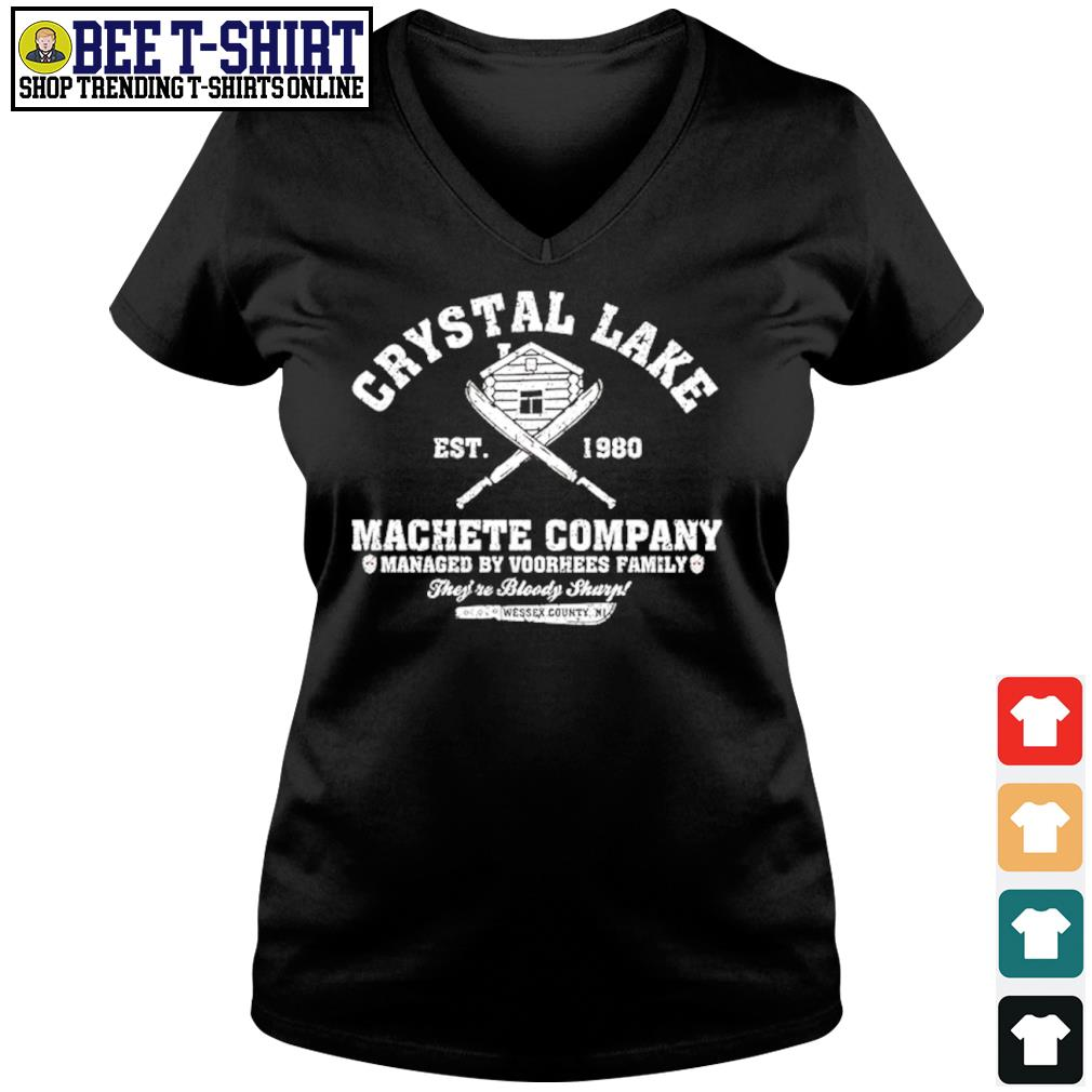 Crystal Lake est. 1980 Machete company managed by Voorhees family s v-neck t-shirt