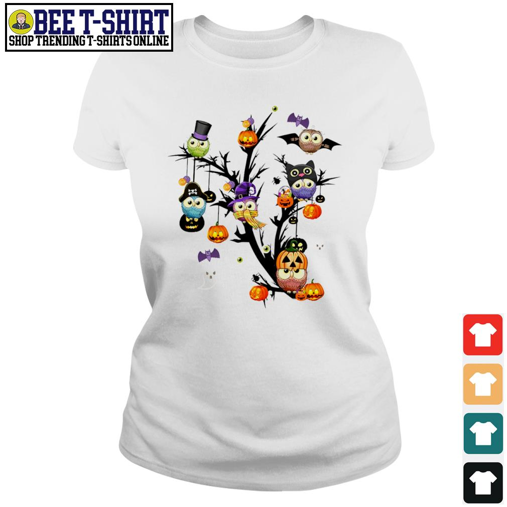 Owls pumpkin tree Halloween s ladies-tee