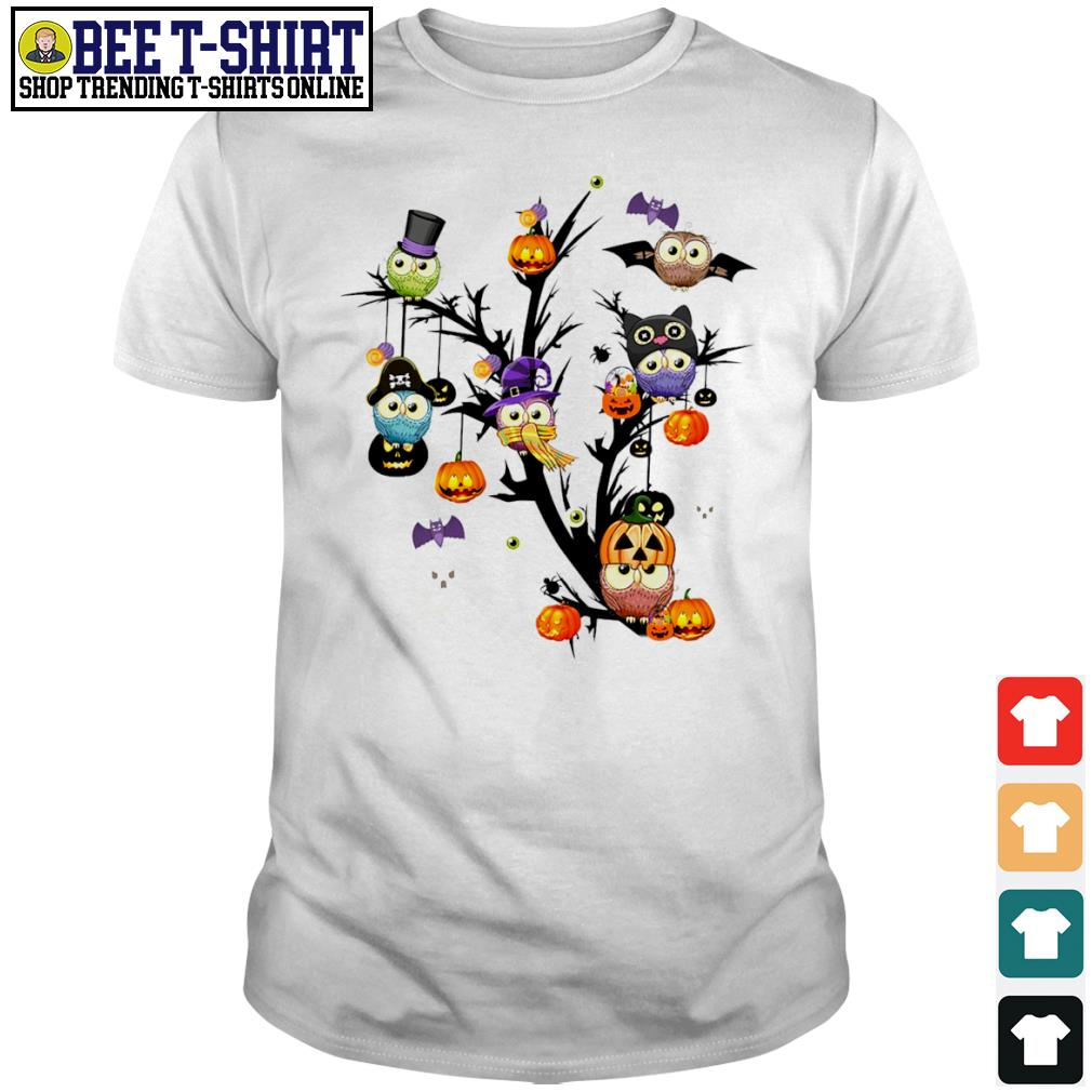 Owls pumpkin tree Halloween shirt