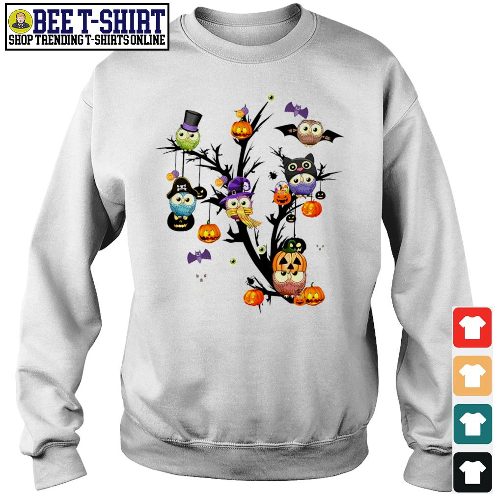 Owls pumpkin tree Halloween s sweater