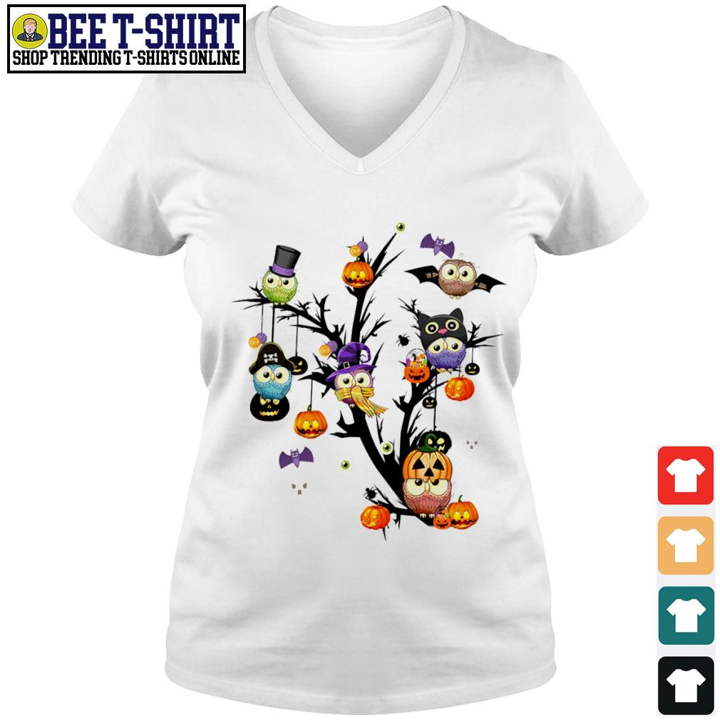 Owls pumpkin tree Halloween s v-neck t-shirt