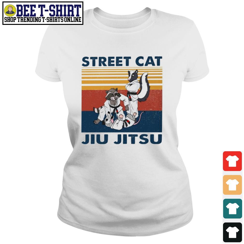 Racoon and opossum street cat jiu jitsu vintage s ladies-tee