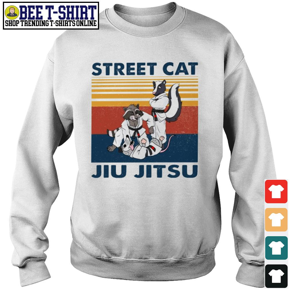 Racoon and opossum street cat jiu jitsu vintage s sweater