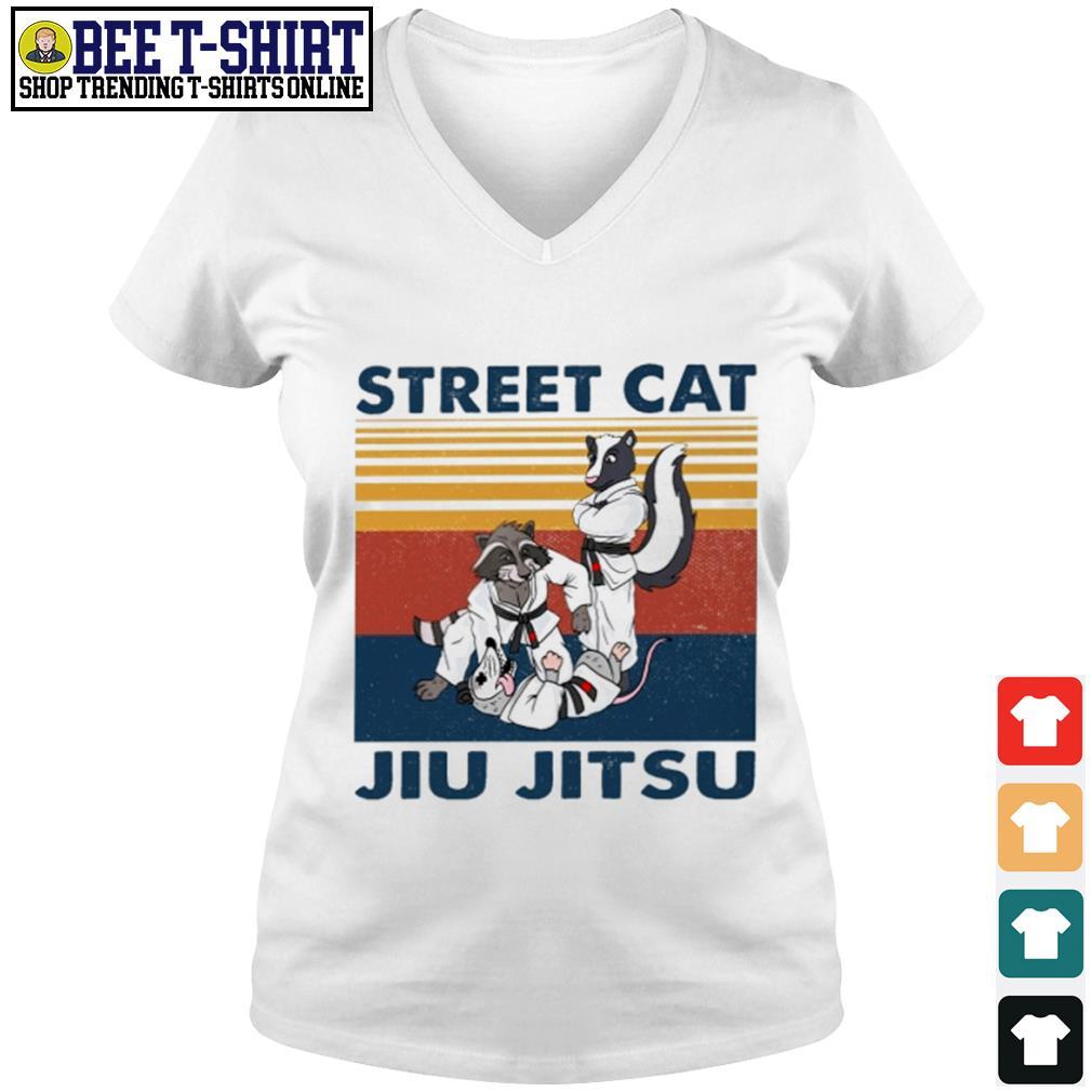 Racoon and opossum street cat jiu jitsu vintage s v-neck t-shirt