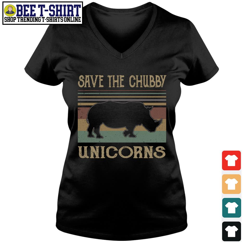 Save the chubby unicorns vintage s v-neck t-shirt