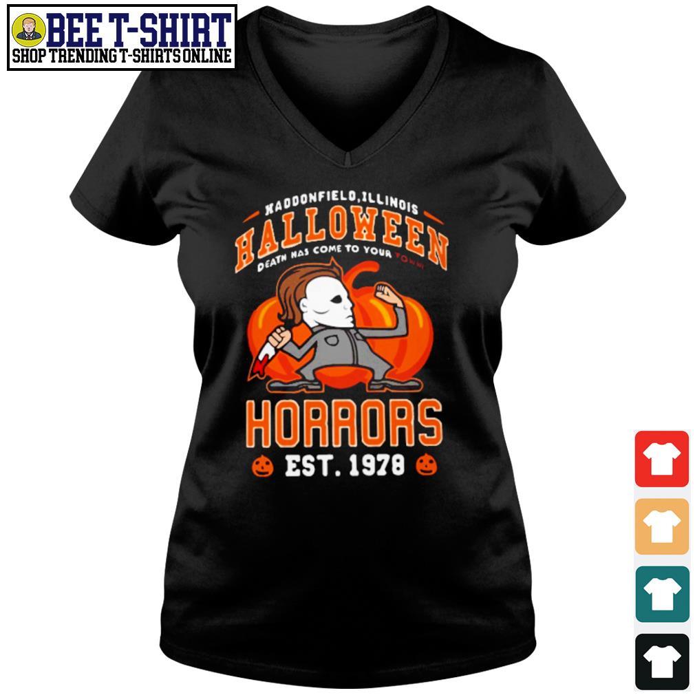 Haddonfield Illinois Halloween Michael Myers horrors est 1978 s v-neck t-shirt