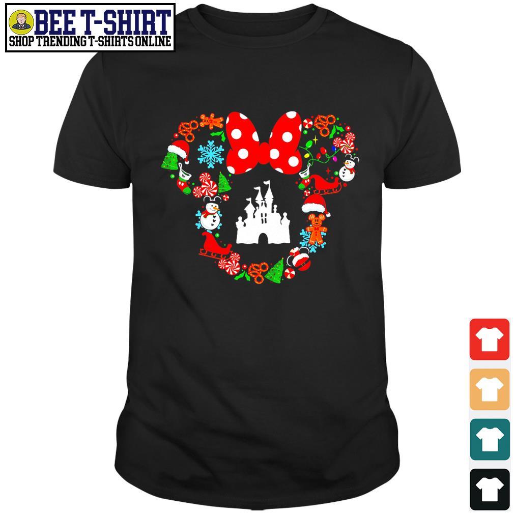Disney Christmas Snowflake Santa hat Reindeer Minnie head shirt