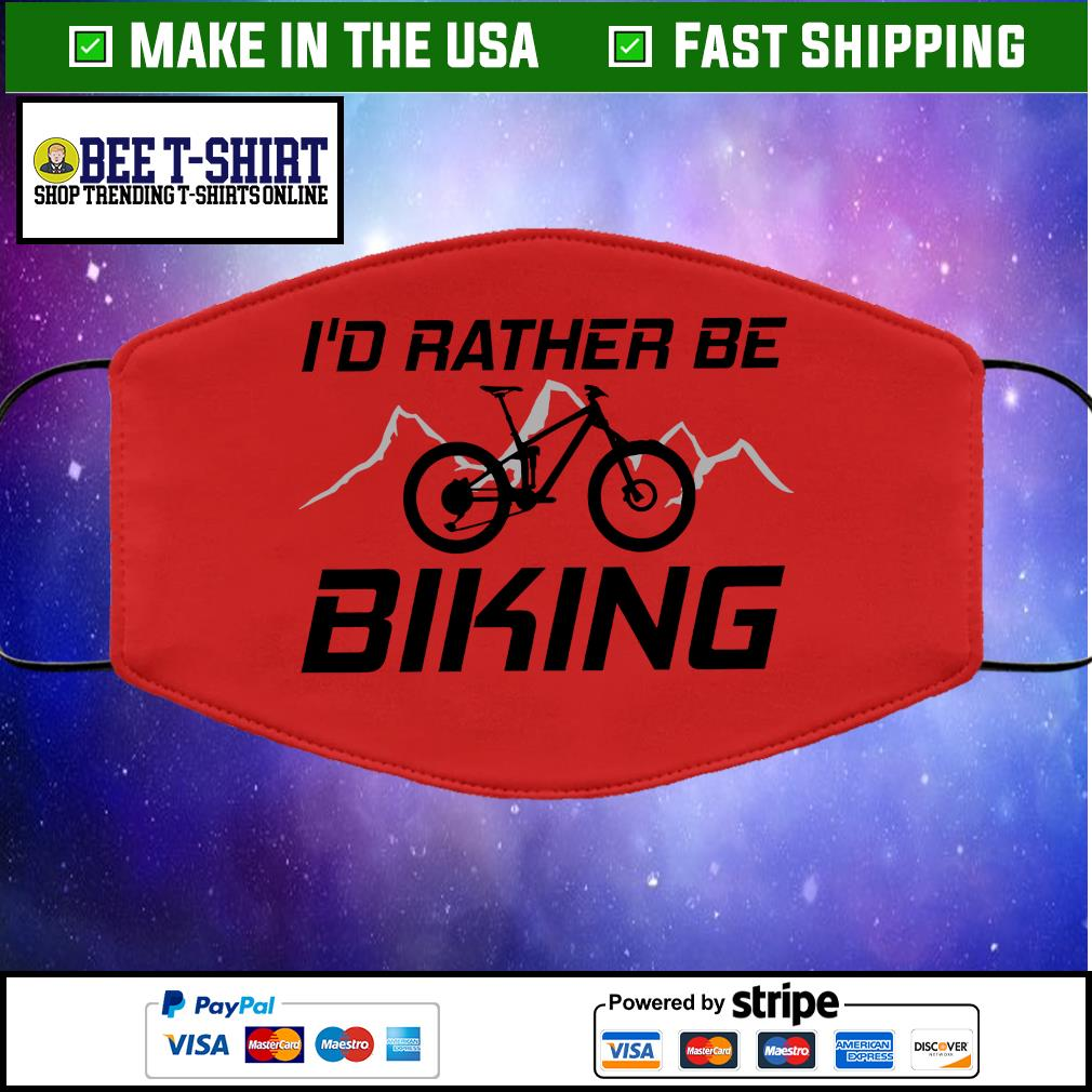 I'd Rather Be Biking Cloth Face Mask Washable red