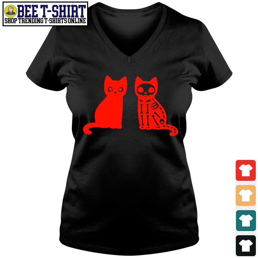 Skeleton cat Halloween s v-neck t-shirt
