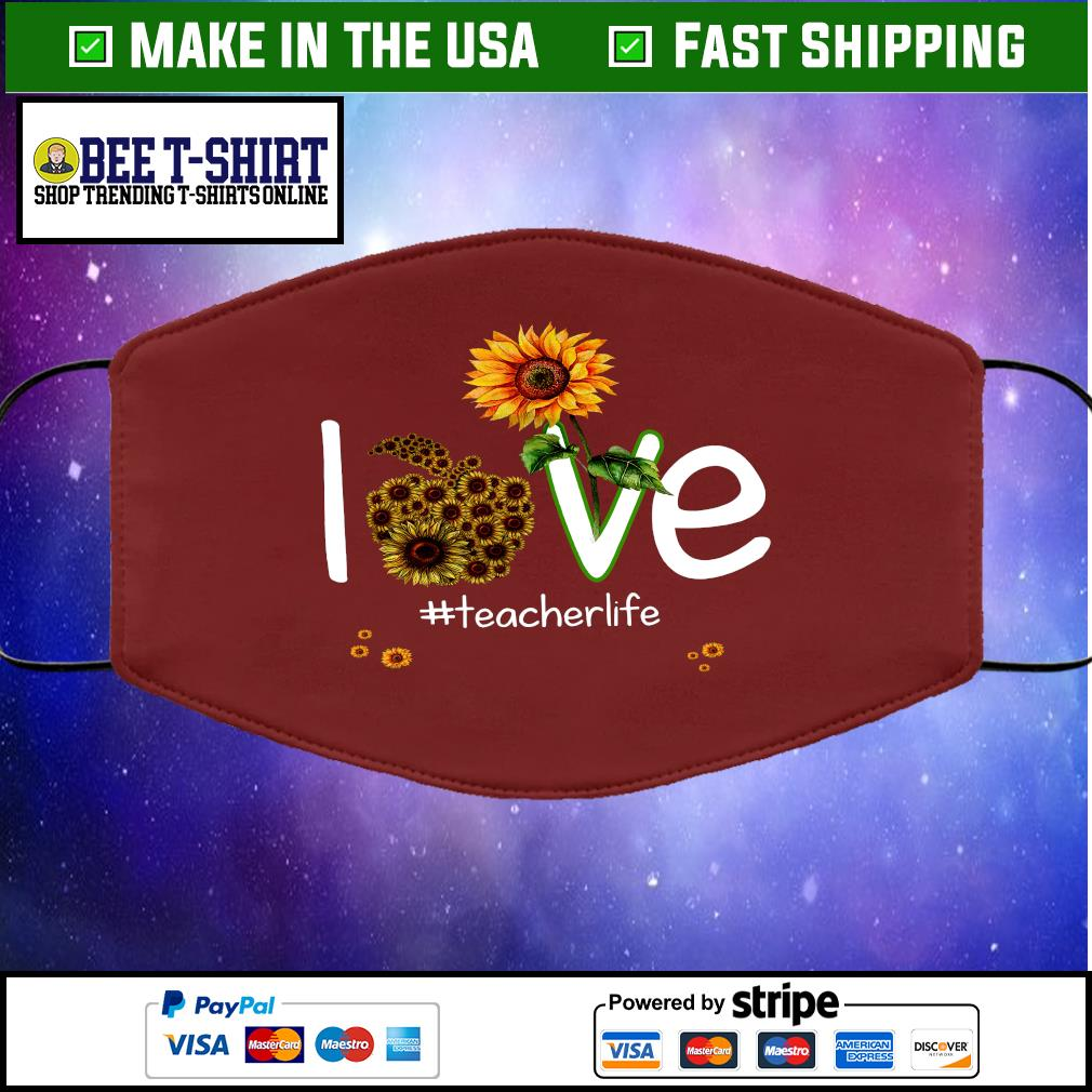 Sunflower love teacher life face mask brown