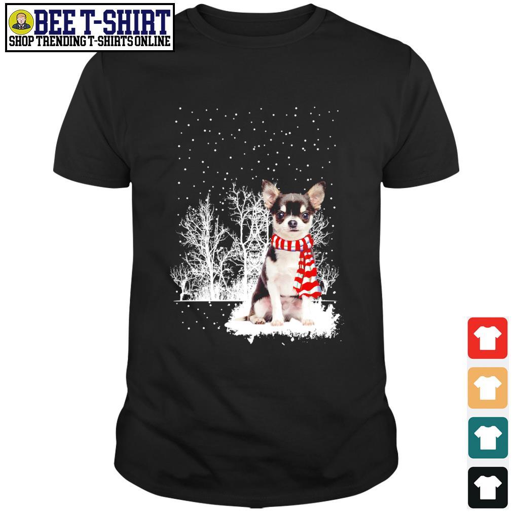 Snow Scarf Chihuahua Merry Christmas shirt