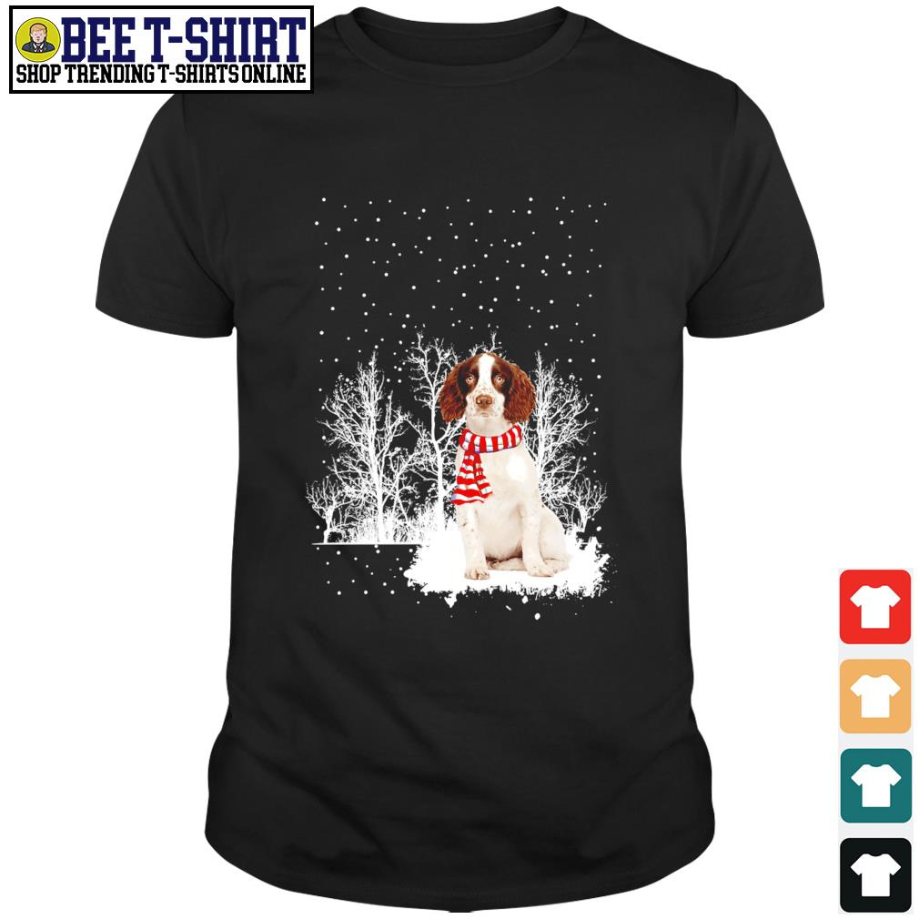 Snow Scarf English Springer Spaniel Merry Christmas shirt