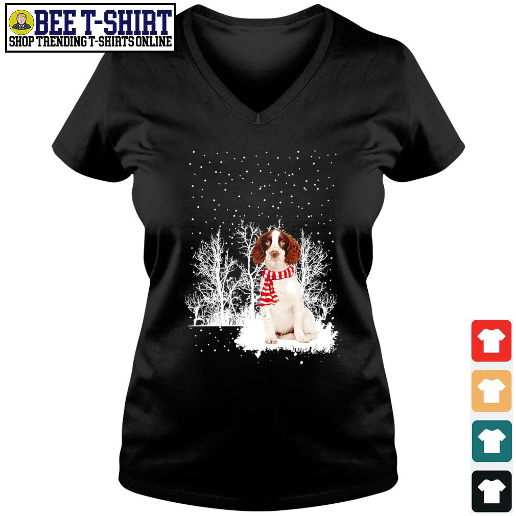 Snow Scarf English Springer Spaniel Merry Christmas s v-neck t-shirt