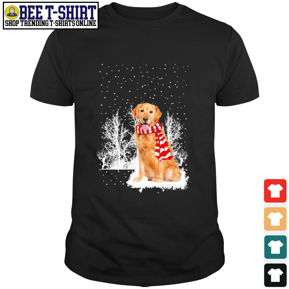 Snow Scarf Golden Retriever Merry Christmas shirt