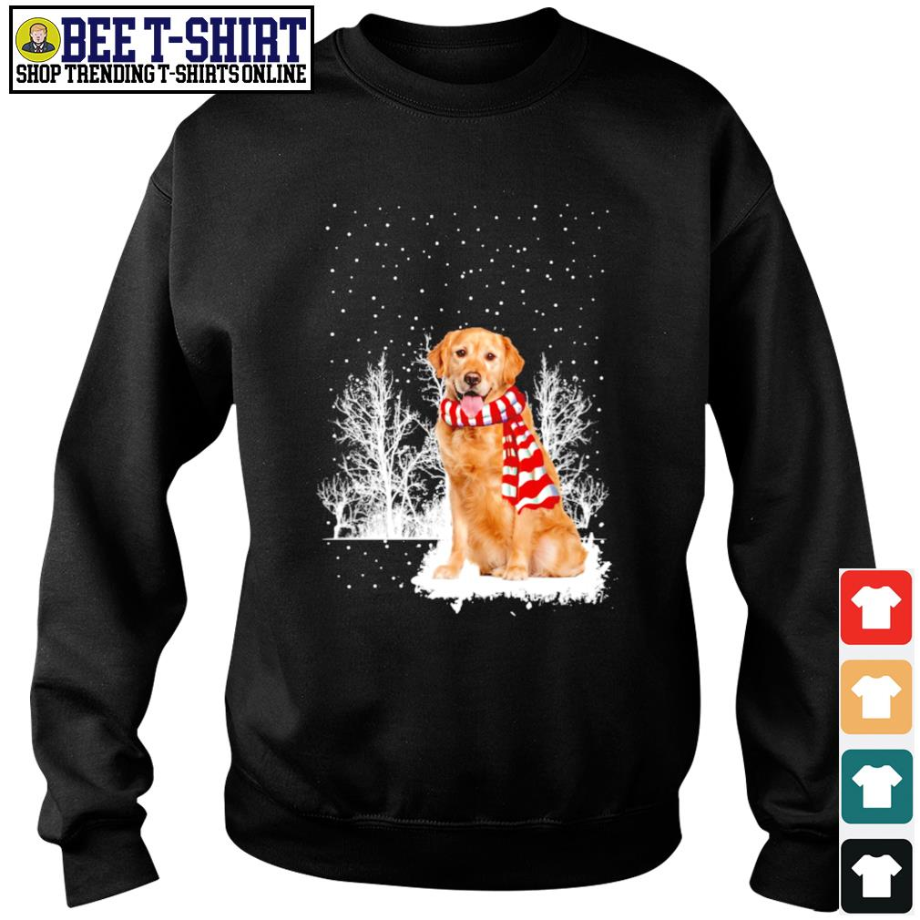 Snow Scarf Golden Retriever Merry Christmas s sweater
