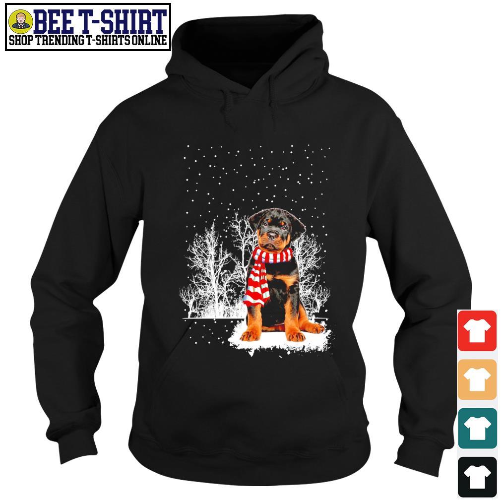 Snow Scarf Rottweiler Merry Christmas s hoodie