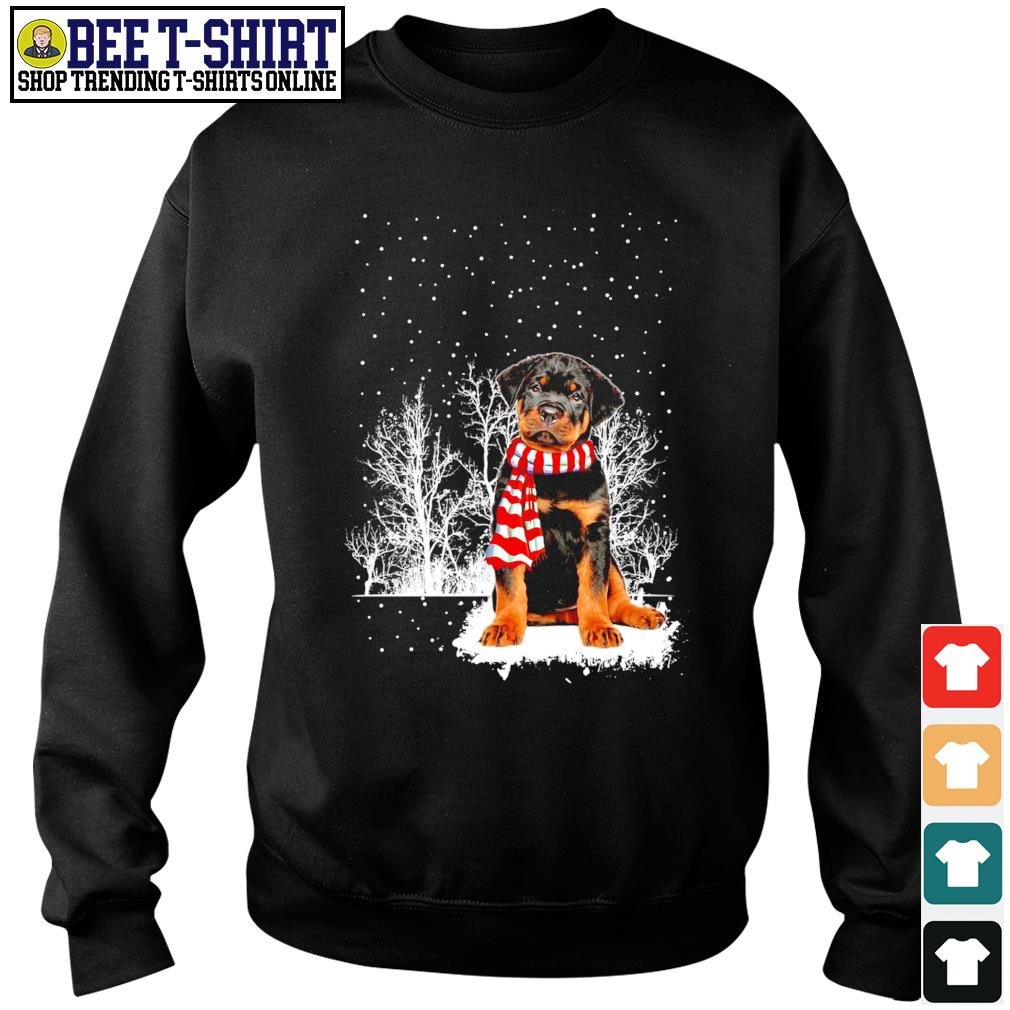 Snow Scarf Rottweiler Merry Christmas s sweater