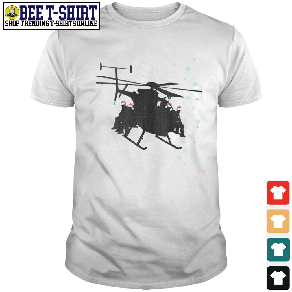 Snowboarding sit on Helicopter Christmas shirt