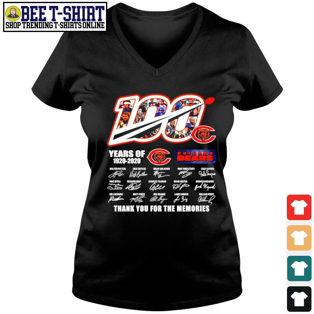 100 years of Chicago Bears 1920 2020 thank you for the memories s v-neck t-shirt