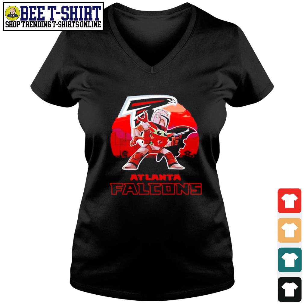 The Mandalorian Star War Baby Yoda with Atlanta Falcons 2021 s v-neck t-shirt