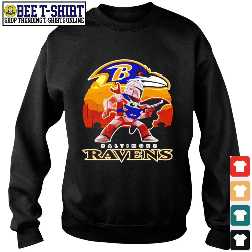 The Mandalorian Star War Baby Yoda with Baltimore Ravens 2021 s sweater
