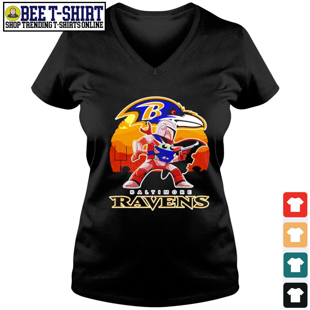 The Mandalorian Star War Baby Yoda with Baltimore Ravens 2021 s v-neck t-shirt